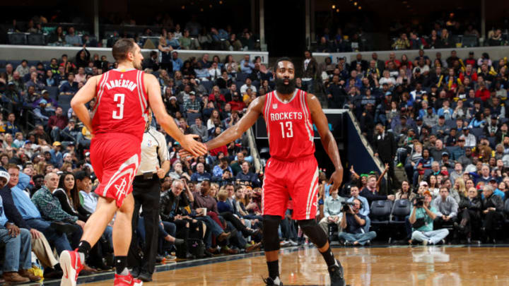 MEMPHIS, TN - DECEMBER 23: James Harden #13 and Ryan Anderson #3 of the Houston Rockets high five each other during the game against the Memphis Grizzlies on December 23, 2016 at FedExForum in Memphis, Tennessee. (Photo by Joe Murphy/NBAE via Getty Images)