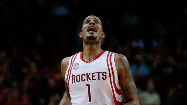 HOUSTON, TX - MARCH 08: Trevor Ariza #1 of the Houston Rockets reacts after he was called for a foul on Joe Johnson #6 of the Utah Jazz during the fourth quarter at Toyota Center on March 8, 2017 in Houston, Texas. NOTE TO USER: User expressly acknowledges and agrees that, by downloading and/or using this photograph, user is consenting to the terms and conditions of the Getty Images License Agreement. (Photo by Bob Levey/Getty Images)