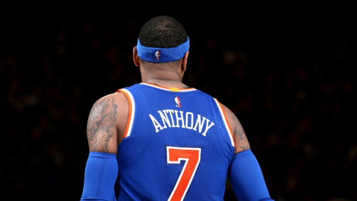 NEW YORK, NY - MARCH 16: Carmelo Anthony #7 of the New York Knicks looks on during the game against the Brooklyn Nets on March 16, 2017 at Madison Square Garden in New York City, New York. NOTE TO USER: User expressly acknowledges and agrees that, by downloading and or using this photograph, User is consenting to the terms and conditions of the Getty Images License Agreement. Mandatory Copyright Notice: Copyright 2017 NBAE (Photo by Nathaniel S. Butler/NBAE via Getty Images)