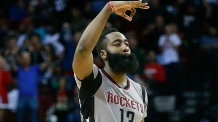 HOUSTON, TX – MARCH 12: James Harden #13 of the Houston Rockets celebrates a three-point shot against the Cleveland Cavaliers during the fourth quarter at Toyota Center on March 12, 2017 in Houston, Texas. NOTE TO USER: User expressly acknowledges and agrees that, by downloading and/or using this photograph, user is consenting to the terms and conditions of the Getty Images License Agreement. (Photo by Bob Levey/Getty Images)