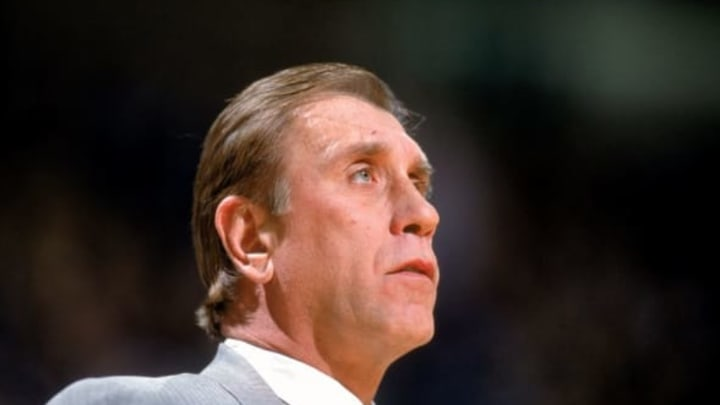 30 Dec 2000: Head Coach Rudy Tomjanovich of the Houston Rockets looks on the court during the game against the Dallas Mavericks at the Reunion Arena in Dallas, Texas. The Rockets defeated the Mavericks 114-99. NOTE TO USER: It is expressly understood that the only rights Allsport are offering to license in this Photograph are one-time, non-exclusive editorial rights. No advertising or commercial uses of any kind may be made of Allsport photos. User acknowledges that it is aware that Allsport is an editorial sports agency and that NO RELEASES OF ANY TYPE ARE OBTAINED from the subjects contained in the photographs. Mandatory Credit: Ronald Martinez /Allsport