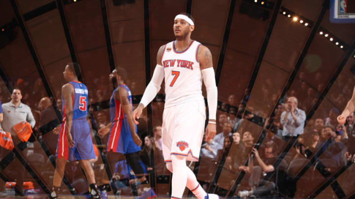 NEW YORK, NY - MARCH 27: (EDITORS NOTE: Multiple exposures were combined in camera to produce this image.) Carmelo Anthony