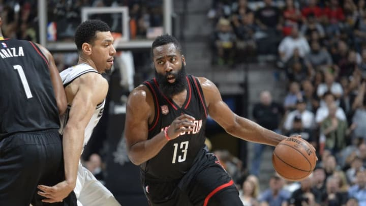 SAN ANTONIO, TX - MAY 9: James Harden #13 of the Houston Rockets handles the ball against the San Antonio Spurs in Game Five of the Western Conference Semifinals on May 9, 2017 at the AT&T Center in San Antonio, Texas. NOTE TO USER: User expressly acknowledges and agrees that, by downloading and or using this photograph, user is consenting to the terms and conditions of the Getty Images License Agreement. Mandatory Copyright Notice: Copyright 2017 NBAE (Photos by Mark Sobhani/NBAE via Getty Images)