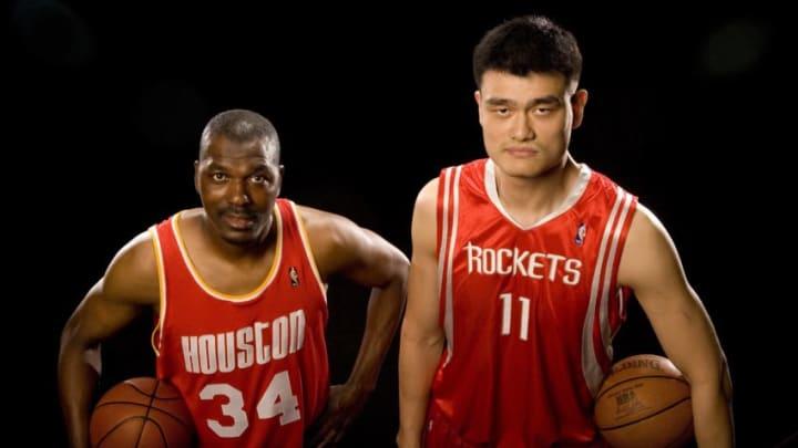 HOUSTON - JUNE 12: Former NBA player Hakeem Olajuwon and Yao Ming