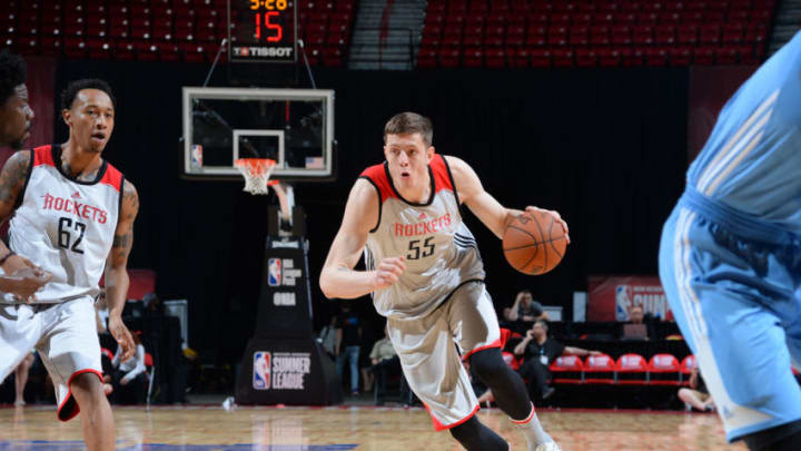 LAS VEGAS, NV - JULY 12: Isaiah Hartenstein #55 of the Houston Rockets handles the ball against the Denver Nuggets during the 2017 Summer League on July 12, 2017 at the Thomas & Mack Center in Las Vegas, Nevada. (Photo by Bart Young/NBAE via Getty Images)