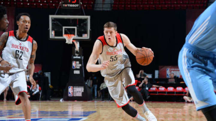 LAS VEGAS, NV – JULY 12: Isaiah Hartenstein #55 of the Houston Rockets handles the ball against the Denver Nuggets during the 2017 Summer League on July 12, 2017 at the Thomas & Mack Center in Las Vegas, Nevada. (Photo by Bart Young/NBAE via Getty Images)