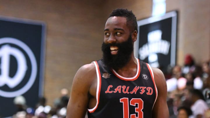 LOS ANGELES, CA - JULY 30: Houston Rockets guard James Harden (13) looks on during a Drew League game at King Drew Magnet High School on July 30th, 2017. (Photo by Brian Rothmuller/Icon Sportswire via Getty Images)
