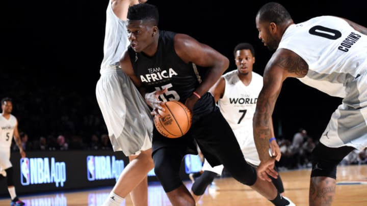 JOHANNESBURG, SOUTH AFRICA - AUGUST 5: Clint Capela #15 of Team Africa drives to the basket against Team World in the 2017 Africa Game as part of the Basketball Without Borders Africa at the Ticketpro Dome on August 5, 2017 in Gauteng province of Johannesburg, South Africa. (Photo by Andrew D. Bernstein/NBAE via Getty Images)