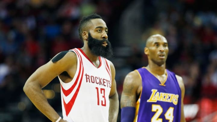 James Harden #13 of the Houston Rockets and Kobe Bryant #24 of the Los Angeles Lakers (Photo by Scott Halleran/Getty Images)