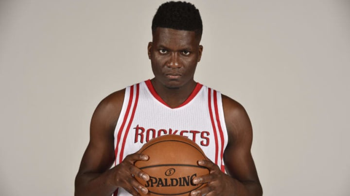 HOUSTON, TX - SEPTEMBER 24: Clint Capela #15 of the Houston Rockets poses for a portrait during the 2016 NBA Media Day at the Toyota Center on September 24, 2016 in Houston, Texas. (Photos by Bill Baptist/NBAE via Getty Images)