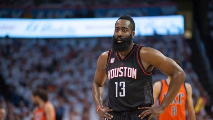 OKLAHOMA CITY, OK - APRIL 23: Houston Rockets Guard James Harden (13) looks towards the bench versus Oklahoma City Thunder during the game 4 of the first round of the NBA Western Conference Playoffs on April 23, 2017, at the Chesapeake Energy Arena Oklahoma City, OK. (Photo by Torrey Purvey/Icon Sportswire via Getty Images)