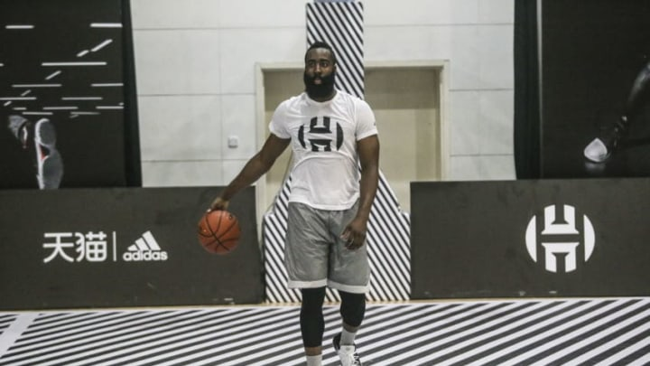 HANGZHOU, CHINA - AUGUST 10: NBA star James Harden of Houston Rockets, attends a basketball event by Tmall of Alibaba Group during his China tour on August 10, 2017 in Hangzhou, Zhejiang Province of China. (Photo by VCG/VCG via Getty Images)
