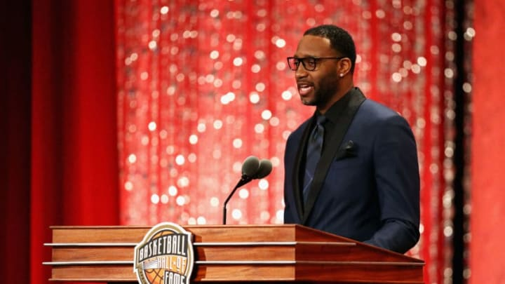 SPRINGFIELD, MA - SEPTEMBER 08: Naismith Memorial Basketball Hall of Fame Class of 2017 enshrinee Tracy McGrady speaks during the 2017 Basketball Hall of Fame Enshrinement Ceremony at Symphony Hall on September 8, 2017 in Springfield, Massachusetts. (Photo by Maddie Meyer/Getty Images)