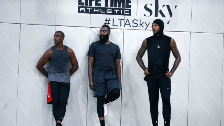 Chris Paul, James Harden and Carmelo Anthony attend Black Ops Basketball Session at Life Time Athletic At Sky Photo by Shareif Ziyadat/Getty Images
