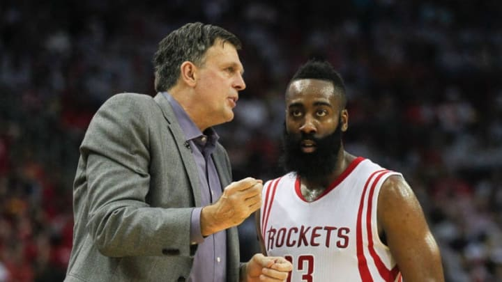 HOUSTON, TX - APRIL 21: Head coach Kevin McHale of the Houston Rockets talks with James Harden