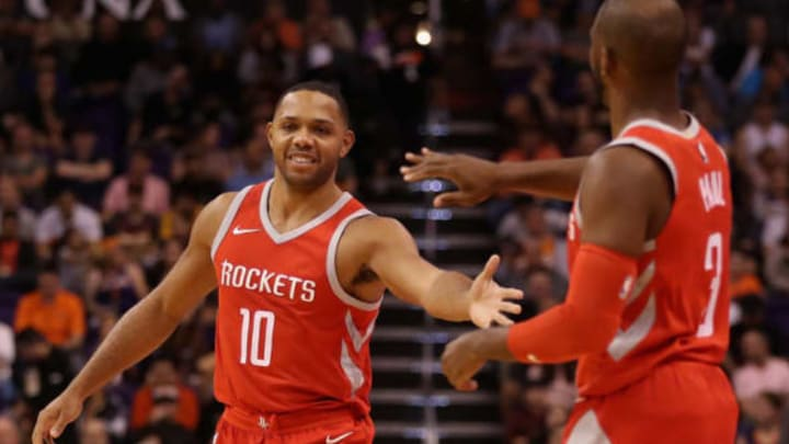 PHOENIX, AZ – NOVEMBER 16: Eric Gordon #10 of the Houston Rockets high fives Chris Paul #3 during the first half of the NBA game against the Phoenix Suns at Talking Stick Resort Arena on November 16, 2017 in Phoenix, Arizona. NOTE TO USER: User expressly acknowledges and agrees that, by downloading and or using this photograph, User is consenting to the terms and conditions of the Getty Images License Agreement. (Photo by Christian Petersen/Getty Images)