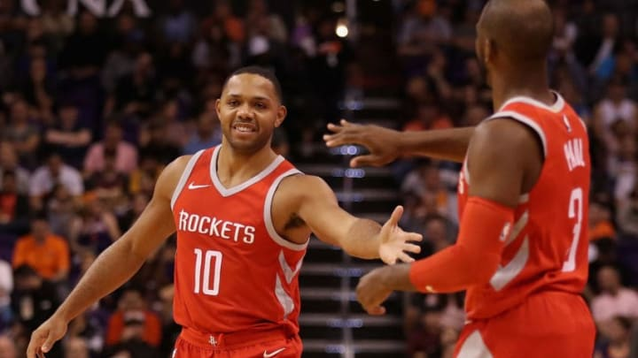 PHOENIX, AZ - NOVEMBER 16: Eric Gordon #10 of the Houston Rockets high fives Chris Paul #3 during the first half of the NBA game against the Phoenix Suns at Talking Stick Resort Arena on November 16, 2017 in Phoenix, Arizona. NOTE TO USER: User expressly acknowledges and agrees that, by downloading and or using this photograph, User is consenting to the terms and conditions of the Getty Images License Agreement. (Photo by Christian Petersen/Getty Images)