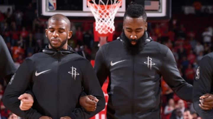 HOUSTON, TX – NOVEMBER 29: Chris Paul #3 of the Houston Rockets and James Harden #13 of the Houston Rockets during the national anthem before the game against the Indiana Pacers on November 29, 2017 at the Toyota Center in Houston, Texas. NOTE TO USER: User expressly acknowledges and agrees that, by downloading and or using this photograph, User is consenting to the terms and conditions of the Getty Images License Agreement. Mandatory Copyright Notice: Copyright 2017 NBAE (Photo by Bill Baptist/NBAE via Getty Images)