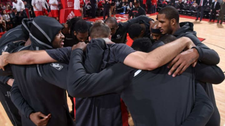 HOUSTON, TX – NOVEMBER 29: Houston Rockets huddle before the game against the Indiana Pacers on November 29, 2017 at the Toyota Center in Houston, Texas. NOTE TO USER: User expressly acknowledges and agrees that, by downloading and or using this photograph, User is consenting to the terms and conditions of the Getty Images License Agreement. Mandatory Copyright Notice: Copyright 2017 NBAE (Photo by Bill Baptist/NBAE via Getty Images)