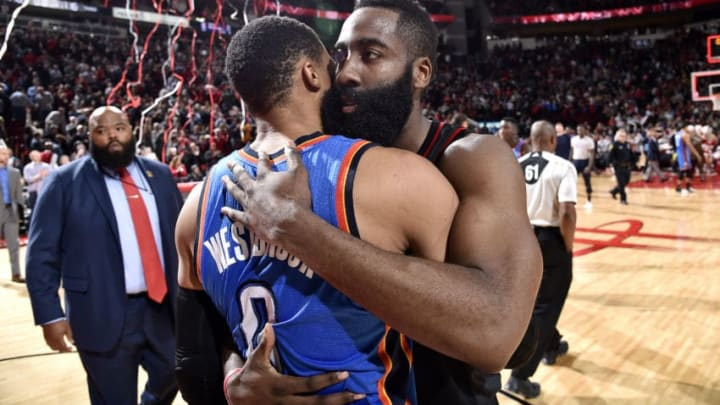 HOUSTON, TX - JANUARY 5: James Harden #13 of the Houston Rockets shares a hug with Russell Westbrook #0 of the Oklahoma City Thunder after the game on January 5, 2017 at the Toyota Center in Houston, Texas. NOTE TO USER: User expressly acknowledges and agrees that, by downloading and or using this photograph, User is consenting to the terms and conditions of the Getty Images License Agreement. Mandatory Copyright Notice: Copyright 2017 NBAE (Photo by Bill Baptist/NBAE via Getty Images)