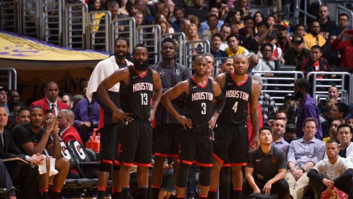 LOS ANGELES, CA - DECEMBER 3: Houston Rockets look on during the game against the Los Angeles Lakers on December 3, 2017 at STAPLES Center in Los Angeles, California. NOTE TO USER: User expressly acknowledges and agrees that, by downloading and or using this photograph, user is consenting to the terms and conditions of the Getty Images License Agreement. Mandatory Copyright Notice: Copyright 2017 NBAE (Photo by Adam Pantozzi/NBAE via Getty Images)