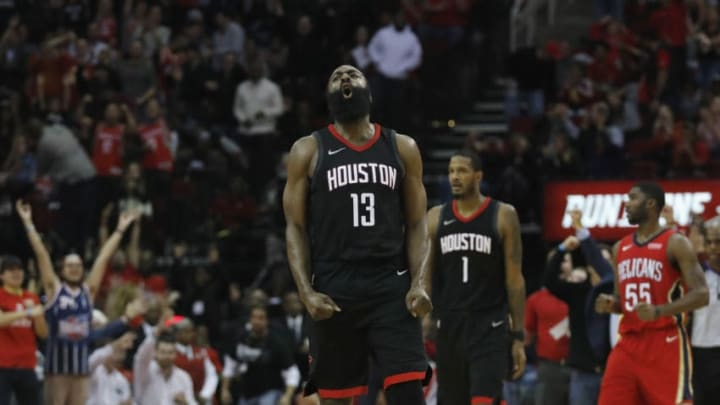 HOUSTON, TX - DECEMBER 11: James Harden #13 of the Houston Rockets reacts after a foul by the New Orleans Pelicans in the fourth quarter at Toyota Center on December 11, 2017 in Houston, Texas. NOTE TO USER: User expressly acknowledges and agrees that, by downloading and or using this photograph, User is consenting to the terms and conditions of the Getty Images License Agreement. (Photo by Tim Warner/Getty Images)