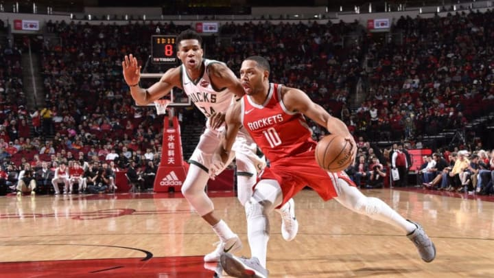 HOUSTON, TX - DECEMBER 16: Eric Gordon #10 of the Houston Rockets drives to the basket against Giannis Antetokounmpo #34 of the Milwaukee Bucks on December 16, 2017 at the Toyota Center in Houston, Texas. NOTE TO USER: User expressly acknowledges and agrees that, by downloading and or using this photograph, User is consenting to the terms and conditions of the Getty Images License Agreement. Mandatory Copyright Notice: Copyright 2017 NBAE (Photo by Bill Baptist/NBAE via Getty Images)