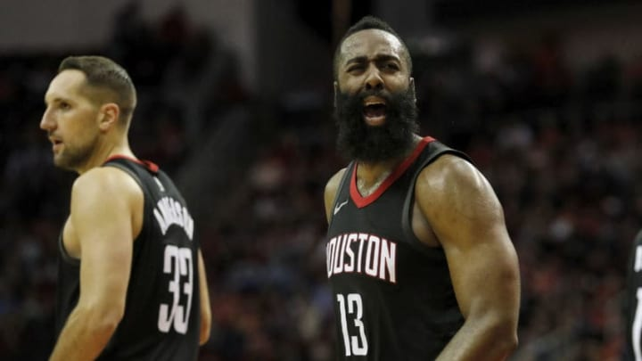HOUSTON, TX - DECEMBER 22: James Harden #13 of the Houston Rockets reacts to being called for a foul in the second half against the LA Clippers at Toyota Center on December 22, 2017 in Houston, Texas. NOTE TO USER: User expressly acknowledges and agrees that, by downloading and or using this Photograph, user is consenting to the terms and conditions of the Getty Images License Agreement. (Photo by Tim Warner/Getty Images)