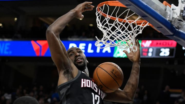 SALT LAKE CITY, UT - DECEMBER 7: Luc Mbah a Moute #12 of the Houston Rockets scores in the first half against the Utah Jazz at Vivint Smart Home Arena on December 7, 2017 in Salt Lake City, Utah. NOTE TO USER: User expressly acknowledges and agrees that, by downloading and or using this photograph, User is consenting to the terms and conditions of the Getty Images License Agreement. (Photo by Gene Sweeney Jr./Getty Images)