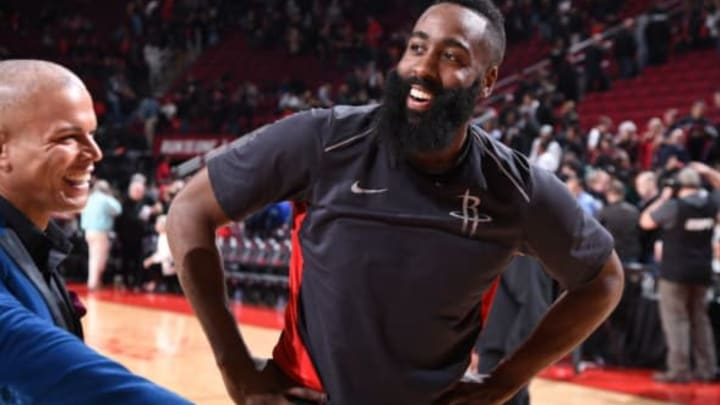 James Harden with a big smile after defeating the San Antonio Spurs