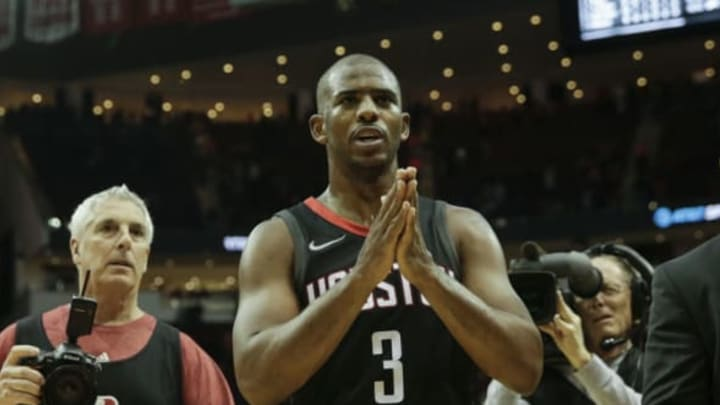 HOUSTON, TX – DECEMBER 31: Chris Paul #3 of the Houston Rockets celebrates after the game against the Los Angeles Lakers at Toyota Center on December 31, 2017 in Houston, Texas. NOTE TO USER: User expressly acknowledges and agrees that, by downloading and or using this photograph, User is consenting to the terms and conditions of the Getty Images License Agreement. (Photo by Tim Warner/Getty Images)