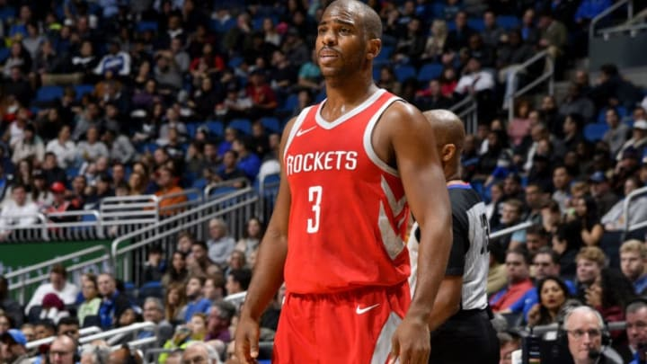 ORLANDO, FL - JANUARY 3: Chris Paul #3 of the Houston Rockets looks on during the game against the Orlando Magic on January 3, 2018 at the Amway Center in Orlando, Florida. NOTE TO USER: User expressly acknowledges and agrees that, by downloading and or using this Photograph, user is consenting to the terms and conditions of the Getty Images License Agreement. Mandatory Copyright Notice: Copyright 2018 NBAE (Photo by Fernando Medina/NBAE via Getty Images)