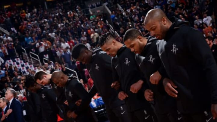 PHOENIX, AZ – JANUARY 12: the Houston Rockets stand for the national anthem prior to the game against the Phoenix Suns on January 12, 2018 at Talking Stick Resort Arena in Phoenix, Arizona. NOTE TO USER: User expressly acknowledges and agrees that, by downloading and or using this photograph, user is consenting to the terms and conditions of the Getty Images License Agreement. Mandatory Copyright Notice: Copyright 2018 NBAE (Photo by Michael Gonzales/NBAE via Getty Images)