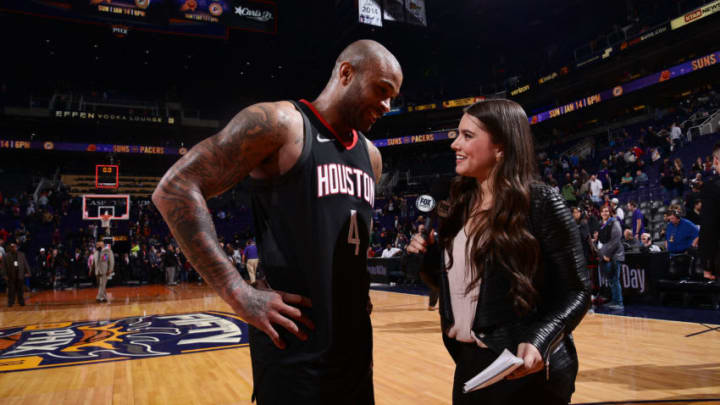 PHOENIX, AZ - JANUARY 12: PJ Tucker #4 of the Houston Rockets talks with the media after the game against the Phoenix Suns on January 12, 2018 at Talking Stick Resort Arena in Phoenix, Arizona. NOTE TO USER: User expressly acknowledges and agrees that, by downloading and or using this photograph, user is consenting to the terms and conditions of the Getty Images License Agreement. Mandatory Copyright Notice: Copyright 2018 NBAE (Photo by Michael Gonzales/NBAE via Getty Images)