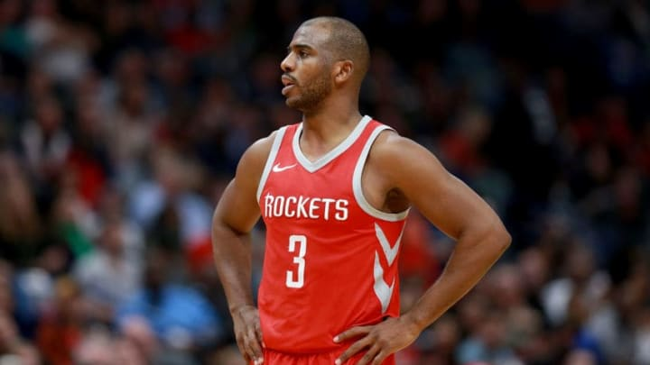 NEW ORLEANS, LA - JANUARY 26: Chris Paul #3 of the Houston Rockets stands on the court during a NBA game against the New Orleans Pelicans at the Smoothie King Center on January 26, 2018 in New Orleans, Louisiana. NOTE TO USER: User expressly acknowledges and agrees that, by downloading and or using this photograph, User is consenting to the terms and conditions of the Getty Images License Agreement. (Photo by Sean Gardner/Getty Images)