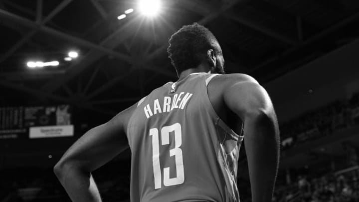 CLEVELAND, OH - FEBRUARY 3: (EDITORS NOTE: This image has been converted to black and white) A shot of James Harden