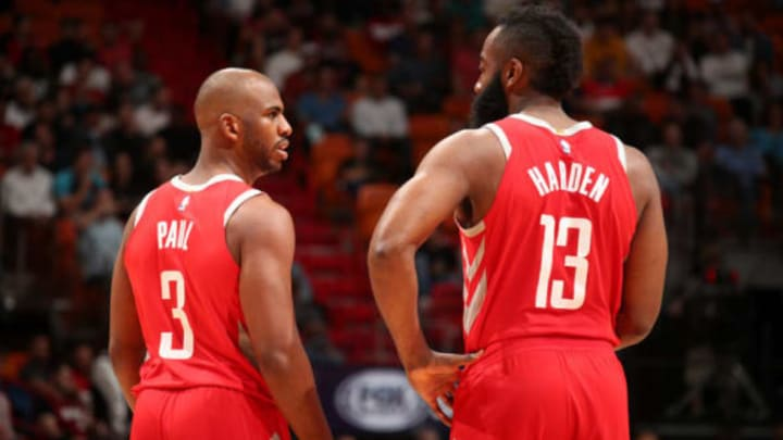 MIAMI, FL – DECEMBER 1: James Harden #13 of the Houston Rockets and Chris Paul #3 of the Houston Rockets talk during the game against the Miami Heat on February 7, 2018 at American Airlines Arena in Miami, Florida. NOTE TO USER: User expressly acknowledges and agrees that, by downloading and or using this Photograph, user is consenting to the terms and conditions of the Getty Images License Agreement. Mandatory Copyright Notice: Copyright 2018 NBAE (Photo by Issac Baldizon/NBAE via Getty Images)
