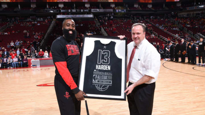 HOUSTON, TX - FEBRUARY 14: James Harden #13 of the Houston Rockets receives his 2018 NBA All-Star jersey before the game against the Sacramento Kings on February 14, 2018 at the Toyota Center in Houston, Texas. NOTE TO USER: User expressly acknowledges and agrees that, by downloading and or using this photograph, User is consenting to the terms and conditions of the Getty Images License Agreement. Mandatory Copyright Notice: Copyright 2018 NBAE (Photo by Bill Baptist/NBAE via Getty Images)