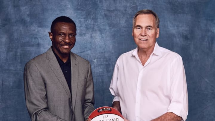 LOS ANGELES, CA - FEBRUARY 16: Head Coach Mike D'Antoni of the Houston Rockets and Dwayne Casey of the Toronto Raptors poses for portraits during the NBAE Circuit as part of 2018 NBA All-Star Weekend on February 16, 2018 at the JW Marriott in Los Angeles, California. NOTE TO USER: User expressly acknowledges and agrees that, by downloading and/or using this photograph, user is consenting to the terms and conditions of the Getty Images License Agreement. Mandatory Copyright Notice: Copyright 2018 NBAE (Photo by Jennifer Pottheiser/NBAE via Getty Images)