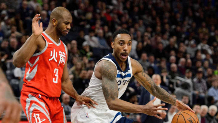 MINNEAPOLIS, MN - FEBRUARY 13: Jeff Teague #0 of the Minnesota Timberwolves drives to the basket against Chris Paul #3 of the Houston Rockets during the game on February 13, 2018 at the Target Center in Minneapolis, Minnesota. NOTE TO USER: User expressly acknowledges and agrees that, by downloading and or using this Photograph, user is consenting to the terms and conditions of the Getty Images License Agreement. (Photo by Hannah Foslien/Getty Images)