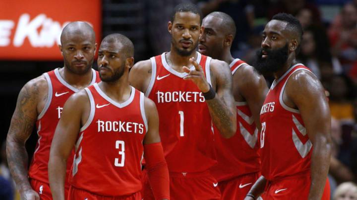 Houston Rockets Chris Paul James Harden Trevor Ariza Luc Mbah a Moute PJ Tucker (Photo by Jonathan Bachman/Getty Images)