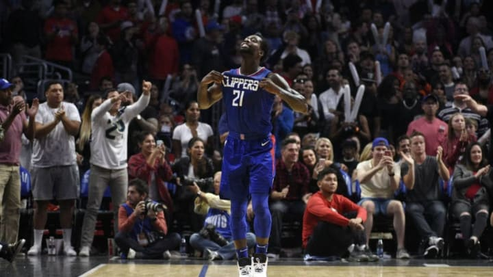 LOS ANGELES, CA - NOVEMBER 5: Patrick Beverley #21 of the Los Angeles Clippers celebrates a turnover by the Miami Heat during the second half of the basketball game at Staples Center November 5 2017, in Los Angeles, California. NOTE TO USER: User expressly acknowledges and agrees that, by downloading and or using this photograph, User is consenting to the terms and conditions of the Getty Images License Agreement. (Photo by Kevork Djansezian/Getty Images)
