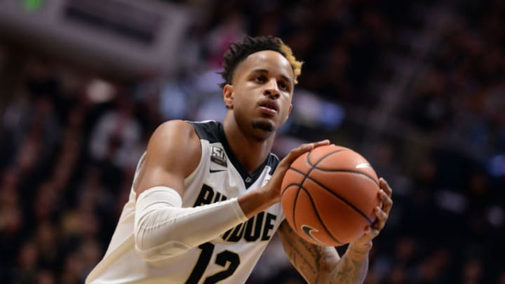 WEST LAFAYETTE, IN - FEBRUARY 25: Purdue Boilermakers forward Vincent Edwards (12) shoots a free throw during the Big Ten Conference college basketball game between the Minnesota Golden Gophers and the Purdue Boilermakers on February 25, 2018, at Mackey Arena in West Lafayette, Indiana. (Photo by Michael Allio/Icon Sportswire via Getty Images)