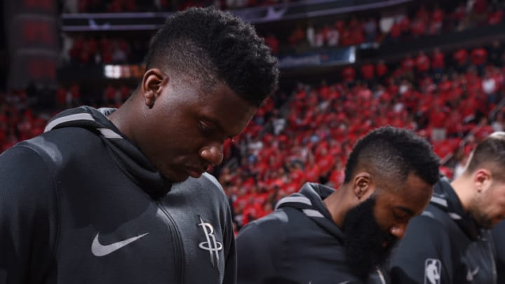 HOUSTON, TX - MAY 28: Clint Capela #15 of the Houston Rockets looks on during the national anthem prior to the game against the Golden State Warriors in Game Seven of the Western Conference Finals during the 2018 NBA Playoffs on May 28, 2018 at the Toyota Center in Houston, Texas. NOTE TO USER: User expressly acknowledges and agrees that, by downloading and or using this photograph, User is consenting to the terms and conditions of the Getty Images License Agreement. Mandatory Copyright Notice: Copyright 2018 NBAE (Photo by Bill Baptist/NBAE via Getty Images)