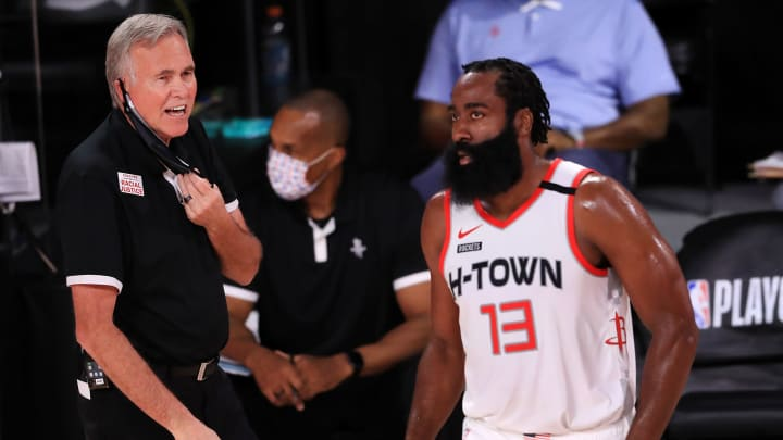 Mike D'Antoni, James Harden (Photo by Mike Ehrmann/Getty Images)