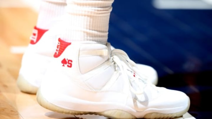 MINNEAPOLIS, MN – APRIL 21: the sneakers worn by PJ Tucker #4 of the Houston Rockets are seen in Game Three of Round One of the 2018 NBA Playoffs against the Minnesota Timberwolves on April 21, 2018 at Target Center in Minneapolis, Minnesota. Mandatory Copyright Notice: Copyright 2018 NBAE (Photo by David Sherman/NBAE via Getty Images)