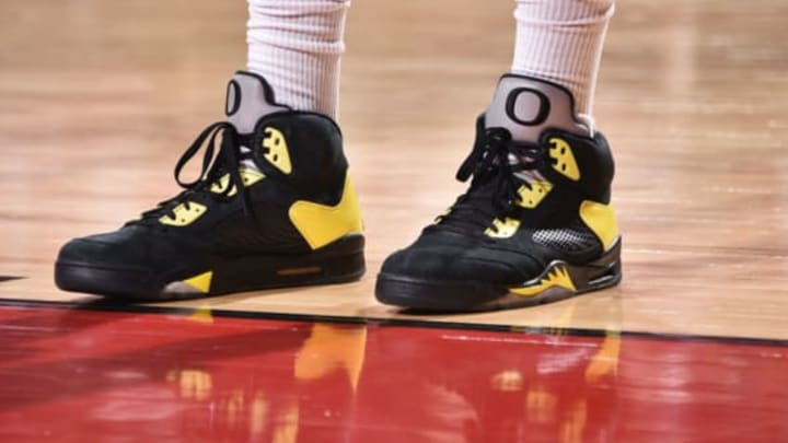 HOUSTON, TX – MAY 2: Sneakers of PJ Tucker #4 of the Houston Rockets during the game against the Utah Jazz on Game Two of Round Two of the 2018 NBA Playoffs on May 2, 2018 at the Toyota Center in Houston, Texas. Mandatory Copyright Notice: Copyright 2018 NBAE (Photo by Bill Baptist/NBAE via Getty Images)