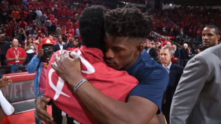 HOUSTON, TX – APRIL 25: James Harden #13 of the Houston Rockets and Jimmy Butler #23 of the Minnesota Timberwolves hug after Game Five of the Western Conference Quarterfinals during the 2018 NBA Playoffs on April 25, 2018 at the Toyota Center in Houston, Texas. NOTE TO USER: User expressly acknowledges and agrees that, by downloading and/or using this photograph, user is consenting to the terms and conditions of the Getty Images License Agreement. Mandatory Copyright Notice: Copyright 2018 NBAE (Photo by Bill Baptist/NBAE via Getty Images)