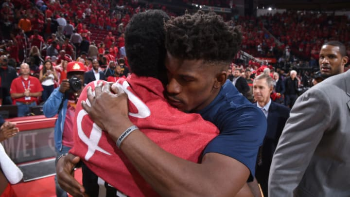 HOUSTON, TX - APRIL 25: James Harden #13 of the Houston Rockets and Jimmy Butler #23 of the Minnesota Timberwolves hug after Game Five of the Western Conference Quarterfinals during the 2018 NBA Playoffs on April 25, 2018 at the Toyota Center in Houston, Texas. NOTE TO USER: User expressly acknowledges and agrees that, by downloading and/or using this photograph, user is consenting to the terms and conditions of the Getty Images License Agreement. Mandatory Copyright Notice: Copyright 2018 NBAE (Photo by Bill Baptist/NBAE via Getty Images)