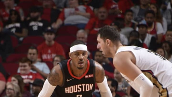 HOUSTON, TX – OCTOBER 17: Carmelo Anthony #7 of the Houston Rockets plays defense against the New Orleans Pelicans during a game on October 17, 2018 at Toyota Center, in Houston, Texas. NOTE TO USER: User expressly acknowledges and agrees that, by downloading and/or using this Photograph, user is consenting to the terms and conditions of the Getty Images License Agreement. Mandatory Copyright Notice: Copyright 2018 NBAE (Photo by Bill Baptist/NBAE via Getty Images)